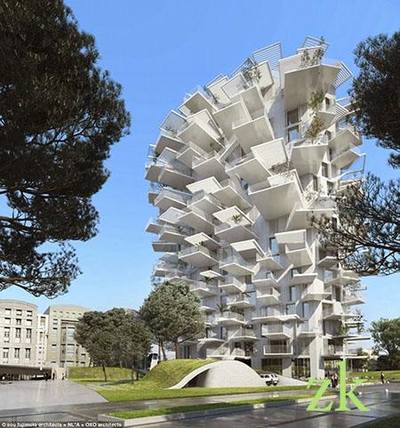 Белое Древо (L'Arbre Блан) многоквартирный дом в Монпелье, Франция