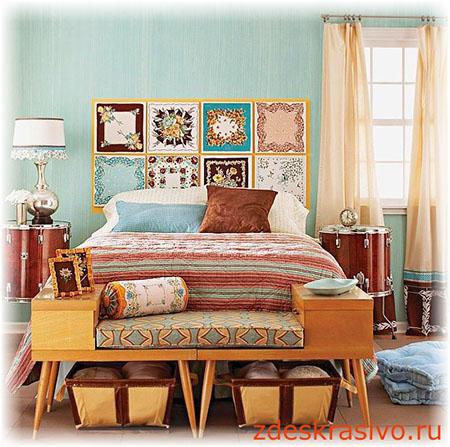 Красивое изголовье кровати своими руками из платков