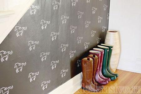 Рисунки на стенах по трафарету