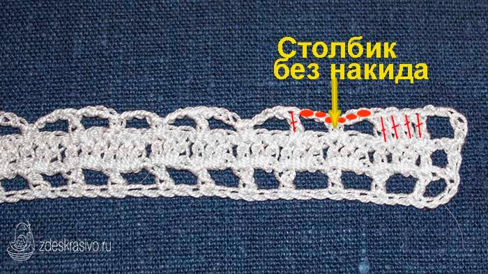 Элемент с дугами в филейном вязании