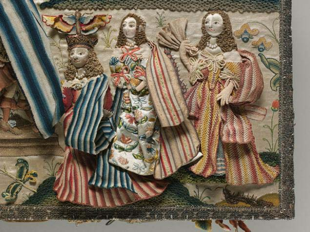 Старинная объемная вышивка на английских шкатулках