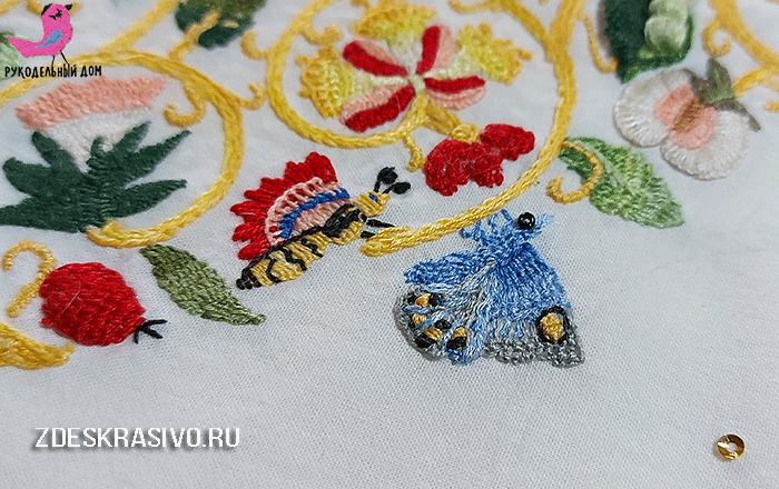 Крымский мотылек на вышитом абажуре