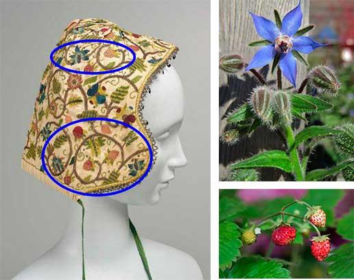 Клубника и огуречник всегда рядом в дизайне елизаветинской вышивки