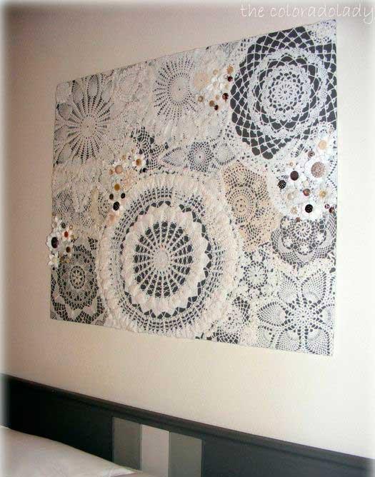 Вязание в интерьере дома —Салфетки на панно