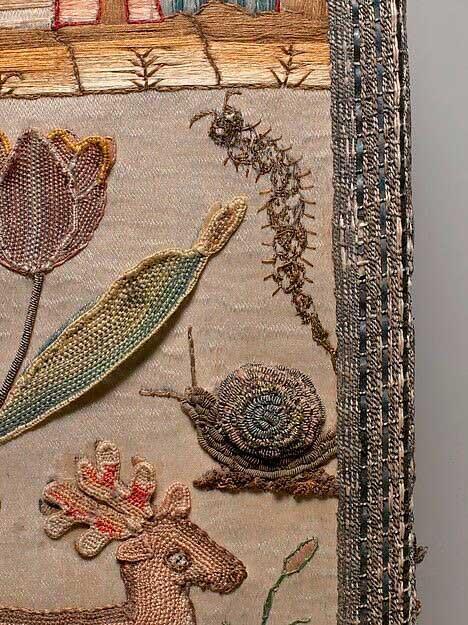 Елизаветинская вышивка образцы цветов, насекомых и животных